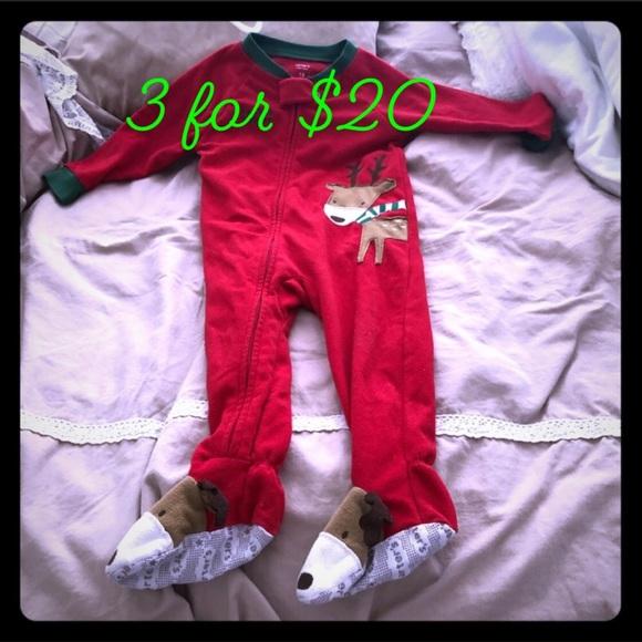 Carters Christmas Reindeer Baby Footie Pajama